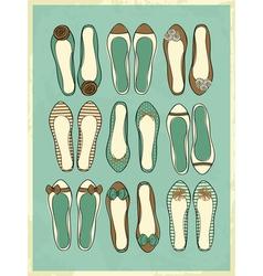 cute retro style ballerinas shoes vector image vector image