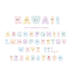 kawaii alphabet in pastel colors with funny vector image