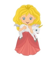 Little princess with baby unicorn vector image vector image