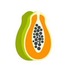 sliced fresh papaya icon flat style vector image