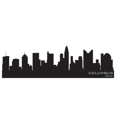 columbus ohio skyline detailed silhouette vector image vector image