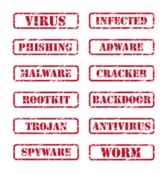 computer security stamps vector image vector image