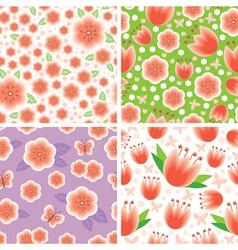 flower pink pattern set vector image