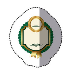green square emblem with ribbon icon vector image vector image
