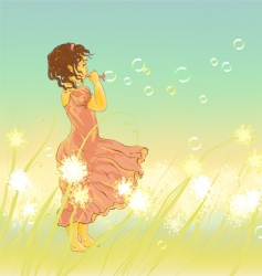 little girl and soap bubbles vector image