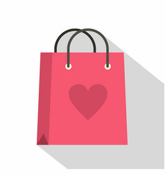 pink shopping bag with heart icon flat style vector image vector image