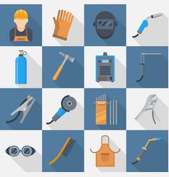 welding icon flat style set vector image