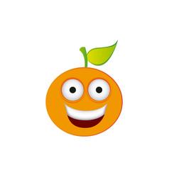 color kawaii fruit orange happy icon vector image vector image