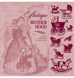 motherhood antique set vector image vector image