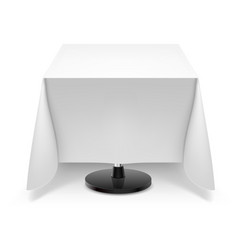 square dining table with white tablecloth and vector image