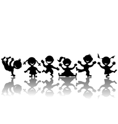 stylized children silhouettes vector image vector image