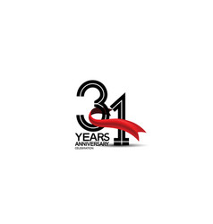 31 years anniversary logotype flat black color vector