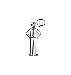 A man with a speach square hand drawn sketch icon vector