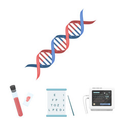 a table of vision tests a blood test a dna code vector image