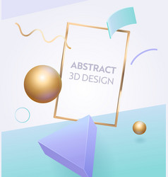 Abstract geometric frame 3d banner design vector