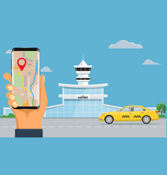 Airport terminal building and yellow taxi hand vector
