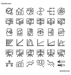 analytics outline icons perfect pixel vector image