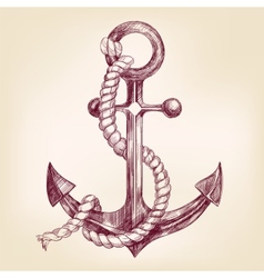 anchor hand drawn llustration vector image