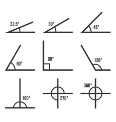 Angles icons set on white background vector