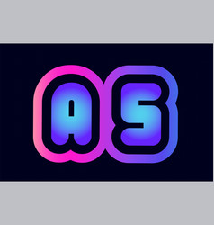 as a s pink blue gradient alphabet letter logo vector image