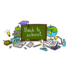 Back to school hand drawn set color sketch vector
