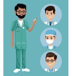 Bearded nurse male syringe staff vector