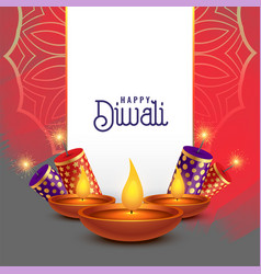 Beautiful diwali card design with crackers vector