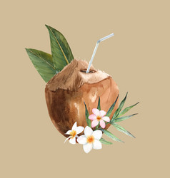 beautiful watercolor tropical coconut stock vector image
