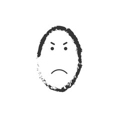 black and white angry emoticon drawing vector image
