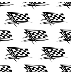 Black and white checkered flag seamless pattern vector image