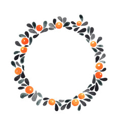 black leaves and orange berry in autumn wreath vector image