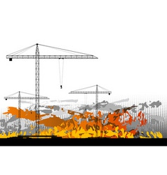 black silhouettes of cranes on the background vector image