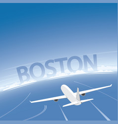 Boston skyline flight destination vector