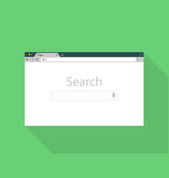 Browser window on green back ground flat style vector