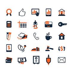 Business icon set Finance marketing e-commerce vector image