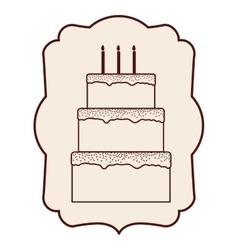Cake inside frame design vector