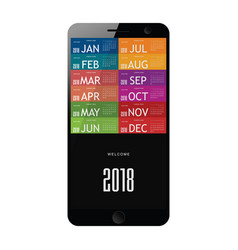 calendar 2018 on mobile phone vector image
