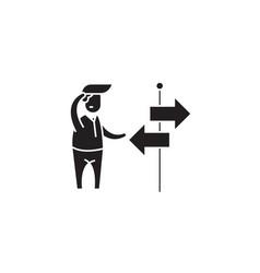 choosing way black concept icon choosing vector image