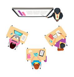 classroom top view with international students vector image