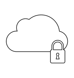 cloud data security system technology outline vector image