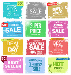 collection colorful grunge retro sale vector image