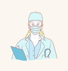 corona virus protection mask doctor hand drawn vector image