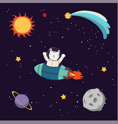 Cute cat astronaut in space vector