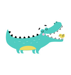 Cute crocodile with birdie in wide open mouth vector