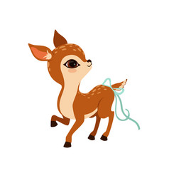 Cute little fawn character with a bow on the tail vector
