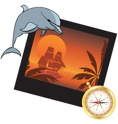 dolphin compass and photoframe vector image