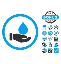 Donate Blood Flat Icon with Bonus vector