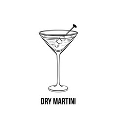dry martini glass hand drawn vector image