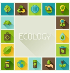 Ecology frame with environment icons vector
