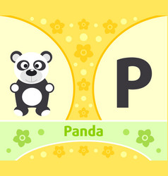 english alphabet with panda vector image
